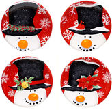 Certified International Top Hat Snowman Set of 4 Canap Plates