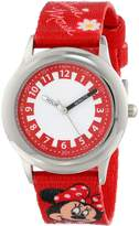 Disney Kids' W000292 Minnie Mouse Stainless Steel Time Teacher Printed Strap Watch