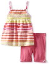 Little Lass Girls 2-6X 2 Piece Stripes Short Set With Smocking
