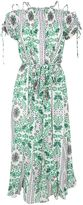 Tory Burch Asilomar Lace-up Printed Silk-crepe Midi Dress