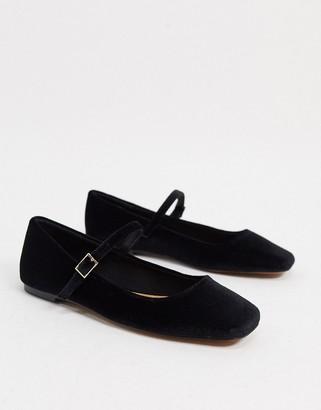 ASOS DESIGN Late mary jane ballet flats in black velvet