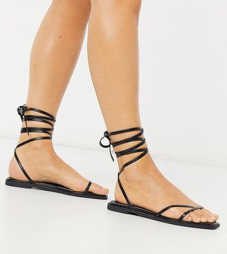 Raid Wide Fit Martha strappy ankle tie sandals in black