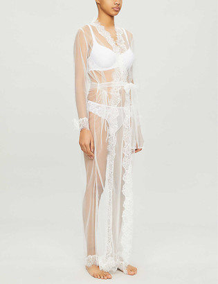 Sainted Sisters Olivia mesh-lace kimono robe