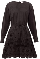 See by Chloe Floral-embroidered Cotton-poplin Mini Dress - Womens - Black