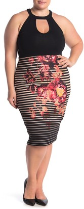 ECI Floral Stripe Pull-On Skirt (Plus Size)