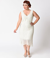 Unique Vintage Plus Size 1920s Style Ivory Beaded Sleeveless Hawkins Flapper Dress
