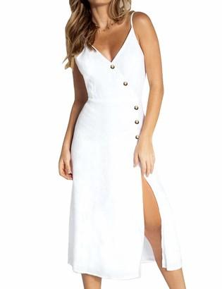 FANCYINN Womens Sleeveless Dresses Spaghetti Strap V-Neck Button Down Open Back Slit Midi Dress Pink S