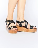 Park Lane Leather Flatform Sandals