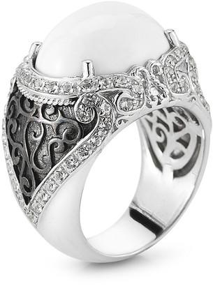 Alor Delatori By Silver & Rhodium 8.00 Ct. Tw. White Agate & Crystal Ring