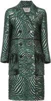 Fendi double breasted zebra coat - women - Acrylic/Wool/Polyester/Silk - 38