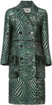 Fendi double breasted zebra coat - women - Silk/Acrylic/Polyamide/Wool - 38