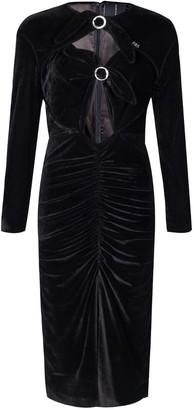 Rue Agthonis Black Velvet Diamond Bow Wrinkled Dress