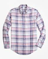 Brooks Brothers Regent Fit Pink Plaid Irish Linen Sport Shirt