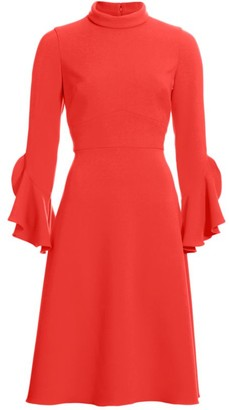Teri Jon By Rickie Freeman Ruffle-Sleeve Cocktail Dress