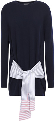 Sandro Suzanne Poplin-trimmed Knotted Wool And Cashmere-blend Sweater