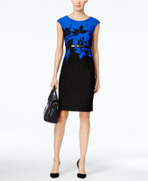 Connected Petite Belted Printed Sheath Dress