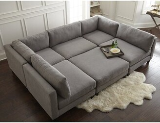 "Home by Sean & Catherine Lowe Chelsea 120"" Symmetrical Modular Sectional with Ottoman Upholstery Color: Graphite"