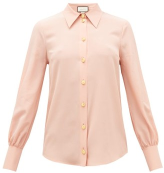 Gucci Anchor-button Silk-crepe Blouse - Womens - Pink