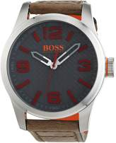 HUGO BOSS BOSS Orange Men's Quartz Stainless Steel and Leather Casual Watch, Color:Beige (Model: 1513351)