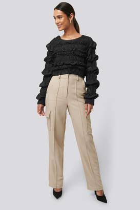 NA-KD Straight Fit Pocket Suit Pants Beige