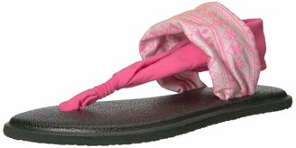 Sanuk Girl's Lil Yoga Sling 2 Prints (Little Kid/Big Kid) Abbot Kinney Tan/Neon Pink 6-7 Big Kid M