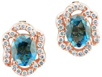 LeVian Le Vian 14K Strawberry Gold & Deep Sea Blue Topaz Stud Earrings