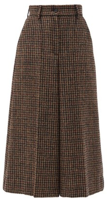 Dolce & Gabbana High-rise Houndstooth Wool-blend Culottes - Brown Multi