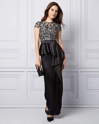 Le Château Metallic Embroidered Mesh Peplum Gown