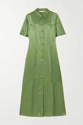 ALEXACHUNG Hammered-satin Midi Shirt Dress - Green