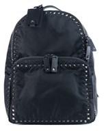 Valentino Solid Black Rockstud Nylon Backpack.