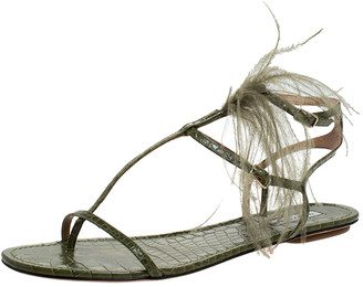 Aquazzura Green Croc Embossed Leather Feather Ponza Ankle Strap Flat Sandals Size 41