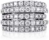 De Beers White Gold and Diamond Five Line Ring