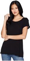 Michael Stars Supima Cotton Slub Crew Neck Tee (Black) Women's T Shirt