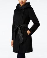 Cole Haan Faux-Leather-Trim Shawl-Collar Asymmetrical Coat