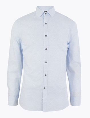 Marks and Spencer Skinny Fit Printed Easy Iron Shirt