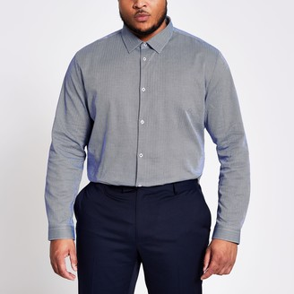 River Island Mens Big and Tall Navy herringbone shirt