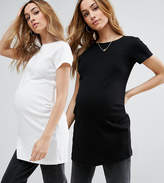 Asos Crew Neck Tunic With Capped Sleeve 2 Pack