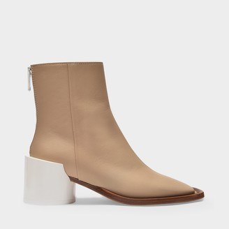 MM6 MAISON MARGIELA Ankle Boots In Beige Leather