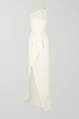 Roland Mouret Lilyvick One-shoulder Grosgrain-trimmed Draped Crepe Gown - White