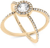 Michael Kors Crystal Pavé Crisscross Barrel Ring