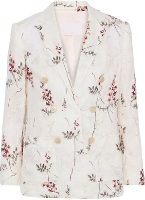Rebecca Taylor Double-breasted Embroidered Linen Blazer