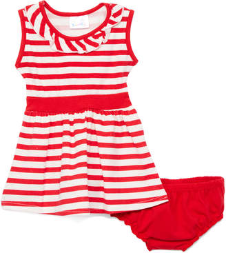 Sweet & Soft Girls' Casual Dresses Red - Red & White Stripe Yoke Dress & Bloomers - Infant