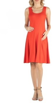 24seven Comfort Apparel A Line Slim Fit and Flare Maternity Dress