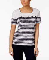 Alfred Dunner Seas the Day Textured Striped Top