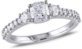 Zales 1-1/4 CT. T.W. Cushion-Cut Diamond Three Stone Engagement Ring in 14K White Gold