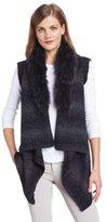 Elie Tahari Women's Cassy Sweater Cardigan with Fur