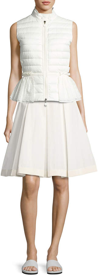 Moncler Twist Pleated Skirt, White