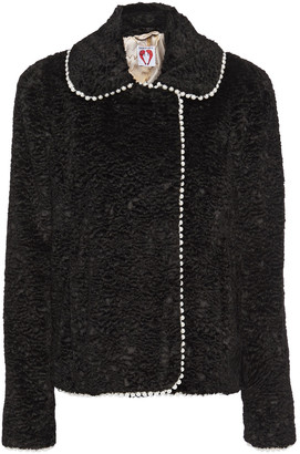 Shrimps Argus Faux Pearl-embellished Faux Shearling Jacket