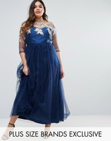 Chi Chi Plus Chi Chi London Plus Premium Lace Bodice Maxi Dress With Tulle Skirt