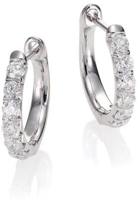 "Jude Frances Jude Diamond & 18K White Gold Huggie Hoop Earrings/0.5"""